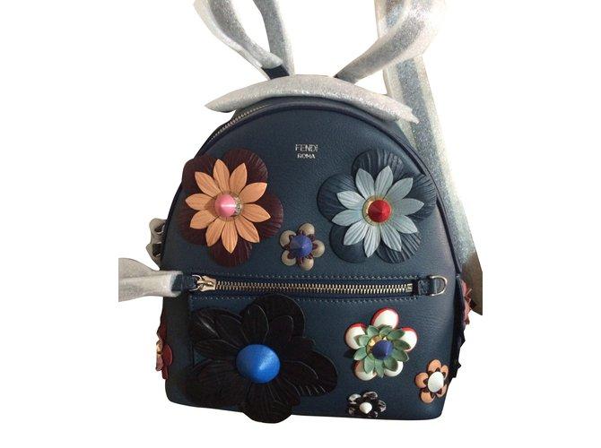 Fendi Flower Backpack Backpacks Leather Blue Ref36140