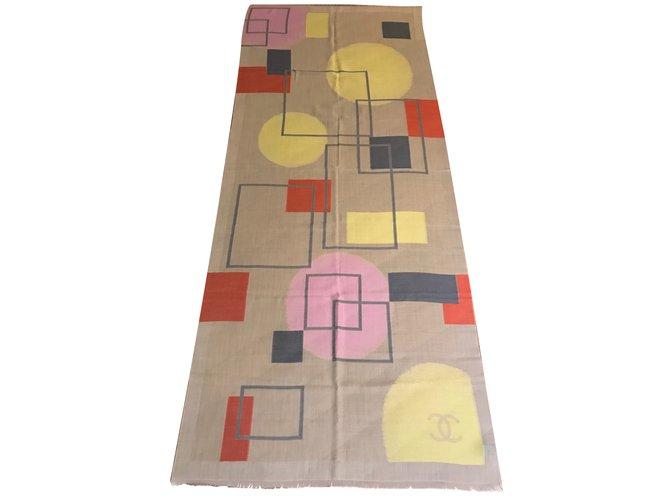 Chanel Silk scarf Scarves Cashmere Beige ref.36172