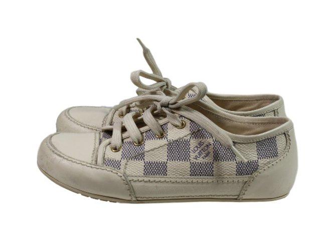 Baskets enfant Louis Vuitton Sneakers Cuir,Toile Bleu,Blanc cassé ref.36264
