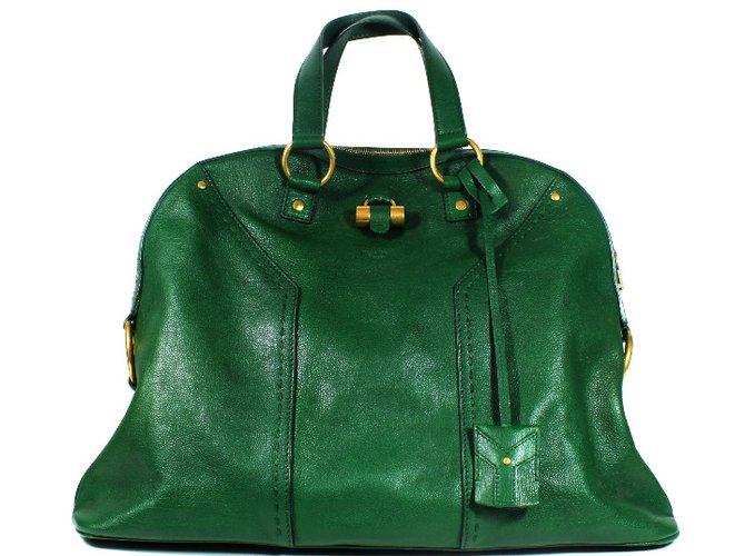 8b9f02bb0e Yves Saint Laurent Muse bag Handbags Leather Green ref.36315 - Joli ...