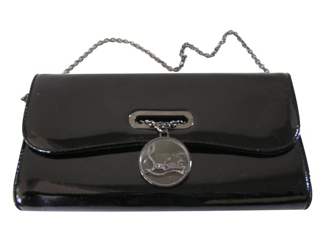Christian Louboutin Clutch bag Clutch bags Patent leather Black ref.36462