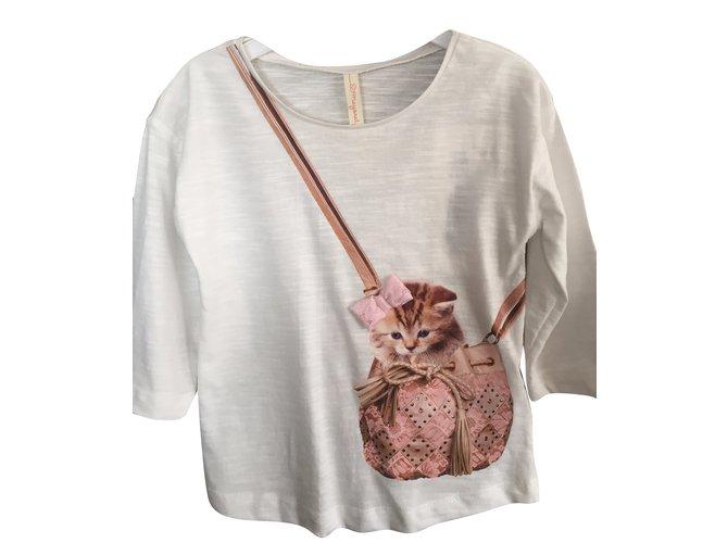 Tops fille Autre Marque T-Shirt Sac à Châton Coton Blanc ref.36556