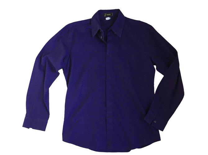 purple versace shirt
