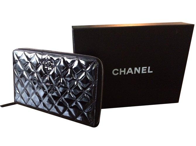 Portefeuilles Chanel PORTEFEUILLE   COMPAGNON CHANEL (Timeless) Cuir vernis  Noir ref.36867 bd0f10267dc