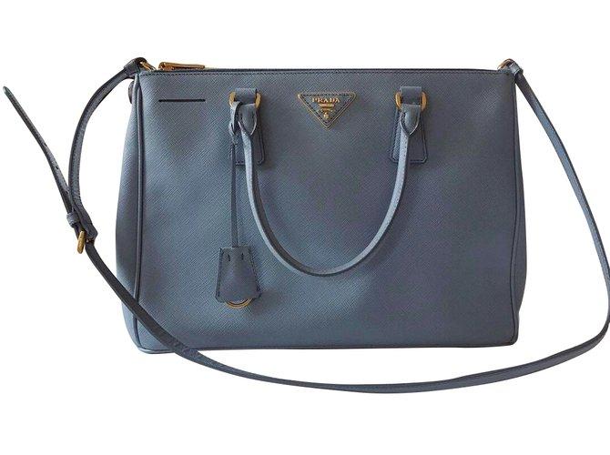 4182a24eed03 Prada PRADA Saffiano Lux Double-Zip Tote Bag Light Blue Handbags Leather  Blue ref.
