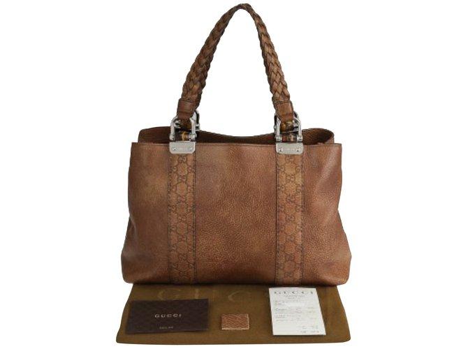 f556cc65862 Gucci Bamboo Bar Medium Tote Bag Totes Leather Brown
