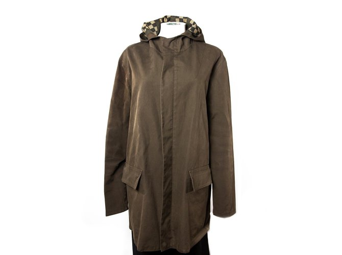 17738d51e6c3 Louis Vuitton LongHoodedDamierJacket Men Coats Outerwear Other Brown  ref.37075