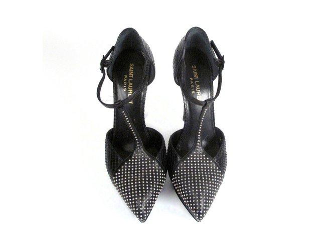 35f95e4f8f3 Yves Saint Laurent Janis - Python Studded StrapHeels Heels Leather Black  ref.37089