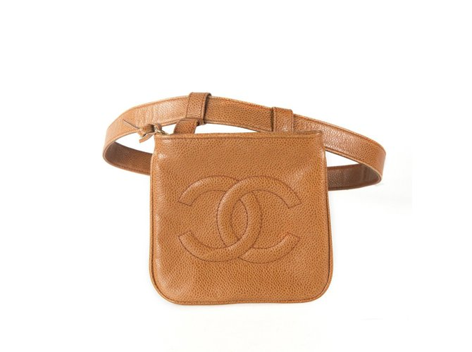 2cf7f1b50594fb Chanel Vintage Caviar Leather Belt Bag Handbags Leather Caramel ref.37137
