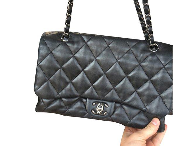 180a9931b852 Chanel Accordion 3 flap bag Handbags Leather Black ref.37321 - Joli ...