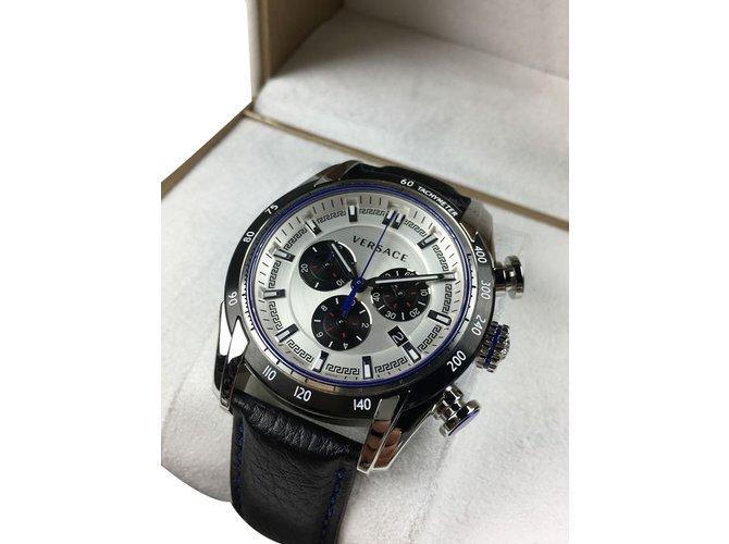 Versace Quartz Watch Quartz Watches Leather Black ref.37353 - Joli ... 9b132b2cde7