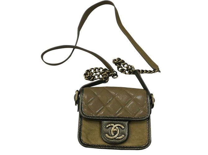 Chanel Back To School Handbags Leather Khaki Ref 37378