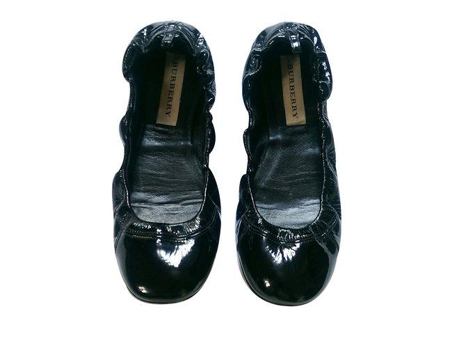 Burberry Ballet flats Ballet flats Leather Black ref.37384