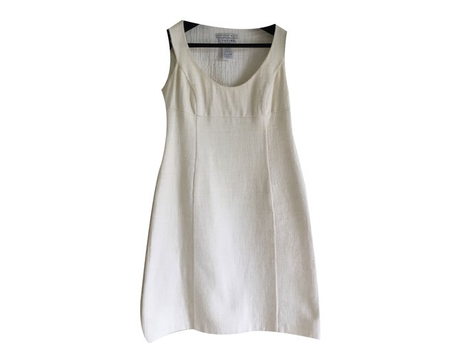 Céline Sleeveles ecru wool and cotton double faced dress Dresses Other Cream ref.37411