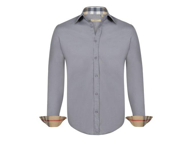 926bd334 Burberry Brit BURBERRY BRIT MEN'S BASIC CASUAL SHIRT LIGHT GREY SLIM FIT MEDIUM  Shirts Cotton Grey