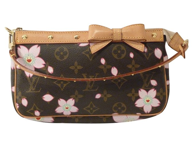 52bd132a3df Louis Vuitton Takashi Murakami Cherry Blossom Monogram Stud Pochette  Shoulder Bag Handbags Other Brown ref.