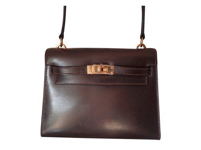 Sacs à main Hermès Mini Kelly 20 Cuir Marron foncé ref.37569
