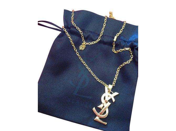 676b56031a2 Yves Saint Laurent Pendant necklace Pendant necklaces Metal Golden ref.37579