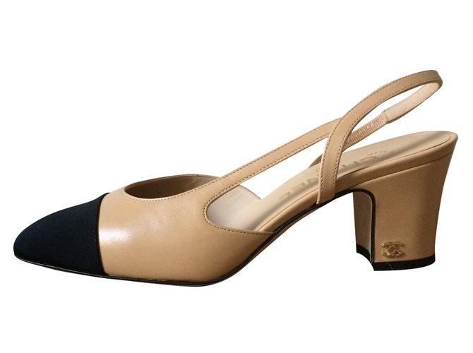 Sandales Chanel Slingback Chanel Cuir Beige Ref 37580 Joli Closet
