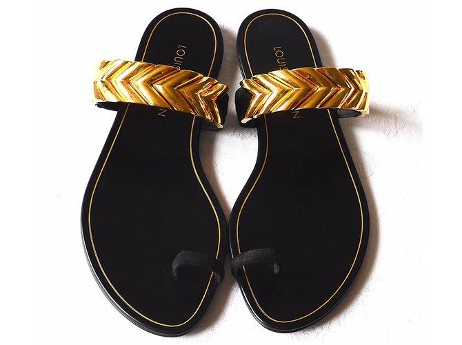 c9c4b6b51 Louis Vuitton Sandals Sandals Leather Black ref.37746 - Joli Closet