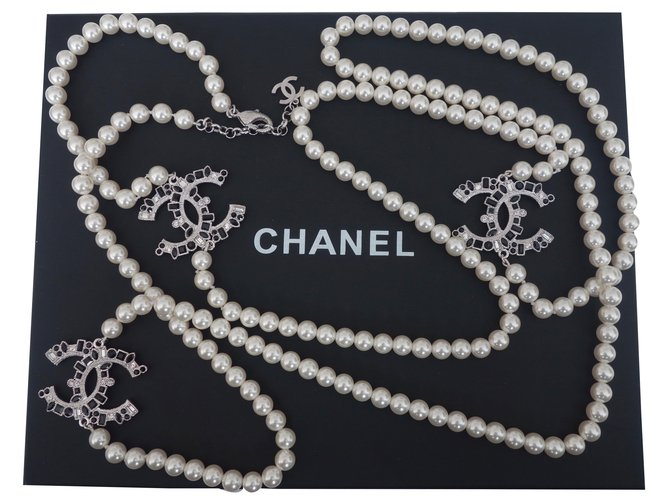Chanel Long necklace Long necklaces Other White ref.37841