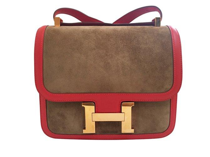 Sacs à main Hermès Constance Bicolore Suede Rouge,Doré,chataigne ref.38068