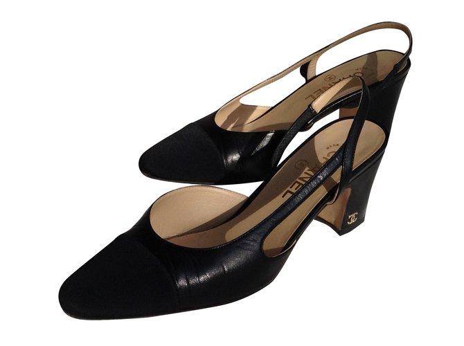 Escarpins Chanel Slingback Cuir Noir Ref 38129 Joli Closet