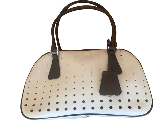 a796745574 Prada Bowling Handbags Leather White ref.38197 - Joli Closet