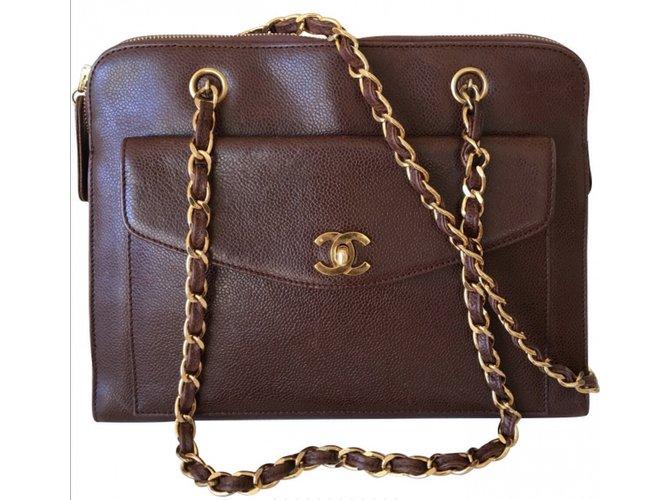 Chanel Handbag Handbags Leather Brown ref.38310 - Joli Closet e6760f94aaeca
