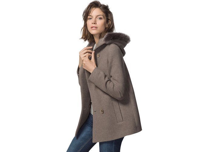 b629736c6 Massimo Dutti Coat Coats, Outerwear Wool Brown,Taupe ref.38442 ...
