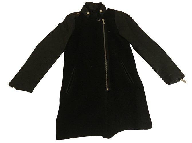 Manteau laine noir zara