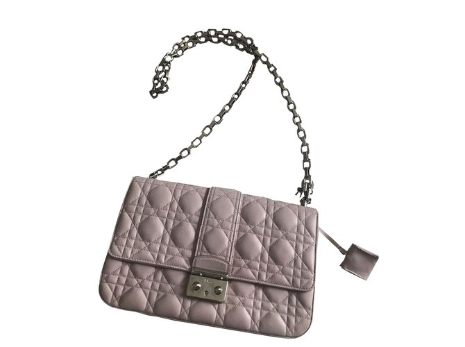 Dior Quilted Lambskin Leather Miss Medium Flap Bag Handbags Pink Ref 38603