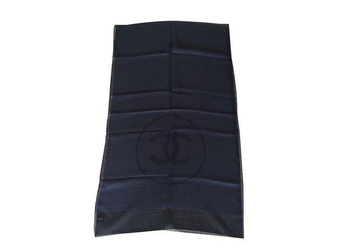 Chanel Scarf Scarves Silk Black ref.38618