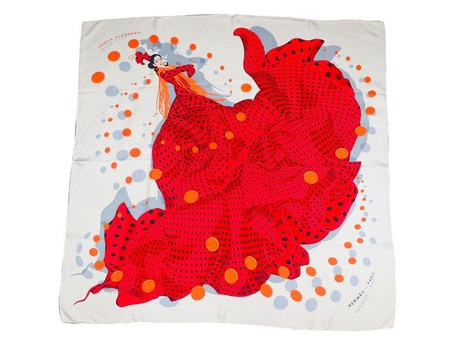 Carrés Hermès Hola Flamenca! Soie Blanc,Rouge ref.38801 3f5a24af089