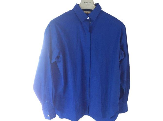 Céline Shirt Tops Cotton Blue ref.38955