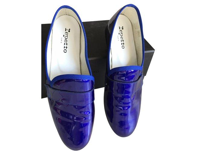 99e0cf89182 Repetto Loafer Michael Flats Patent leather Blue ref.38963 - Joli Closet