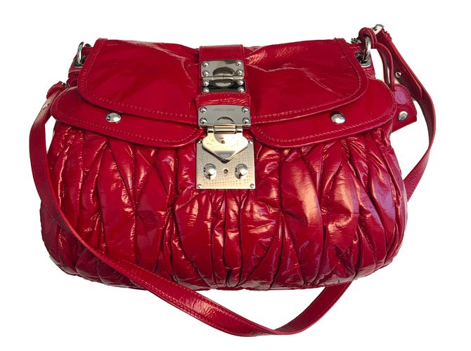 9f973b807edb Miu Gathered Leather Two Way Bag Lxrandco Pre Owned ...