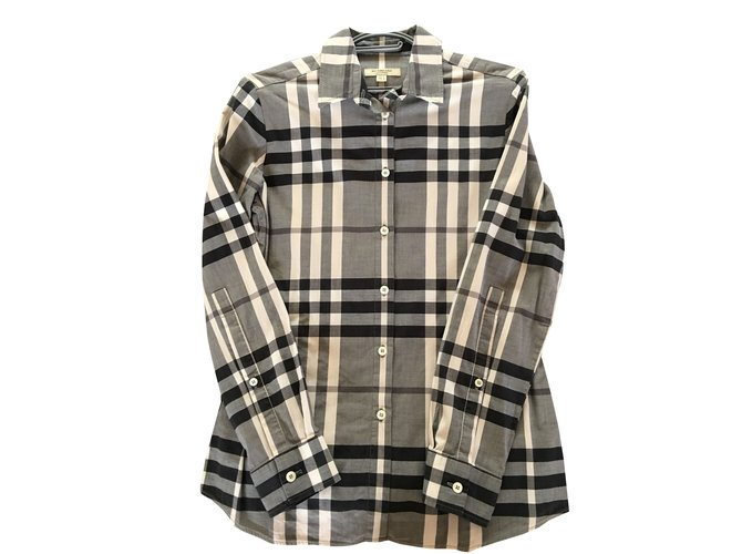 Burberry Tartan Tops Cotton Grey ref.39086