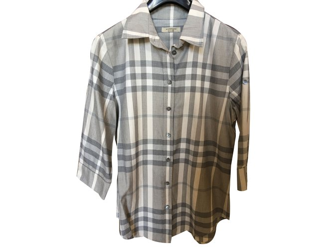 Burberry Tartan Tops Cotton Grey ref.39089