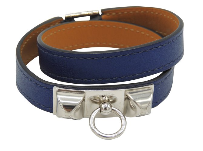 Bracelets Hermès Bracelets Cuir Bleu Marine ref.39284