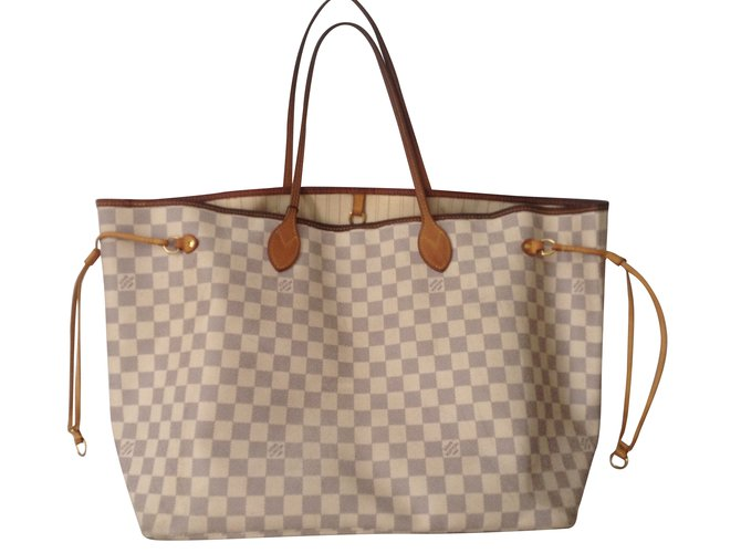 5d9cfb953790 Louis Vuitton Neverfull GM damier Handbags Leather Blue ref.39302 ...