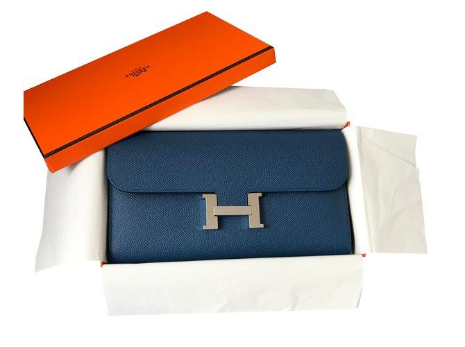 7f0d5263f2 Portefeuilles Hermès Portefeuille Constance Cuir Bleu ref.39403 ...