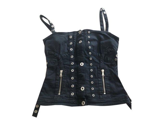 Tops Dolce & Gabbana Top femme Dolce & Gabbana Coton Noir ref.39531