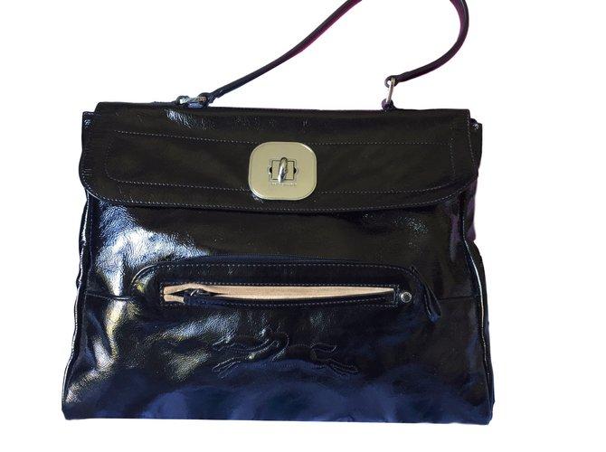 405760825f Sacs à main Longchamp Gatsby Cuir vernis Noir ref.39626 - Joli Closet