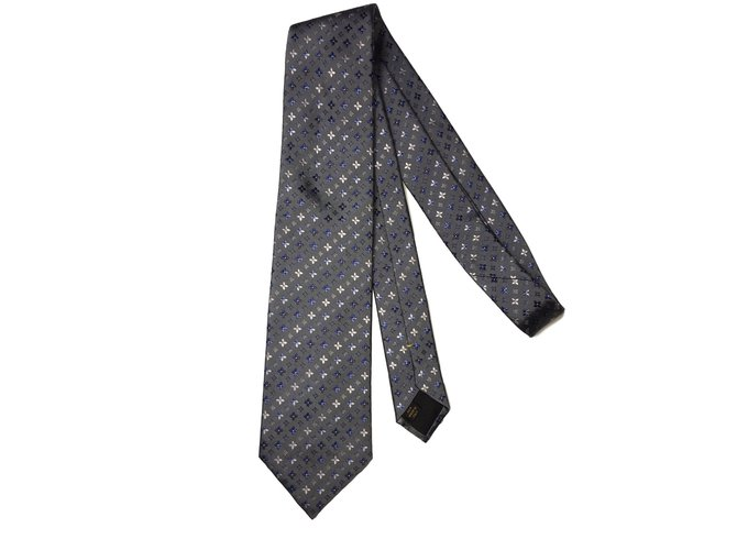 louis vuitton tie. louis vuitton tie ties silk blue,grey ref.39724