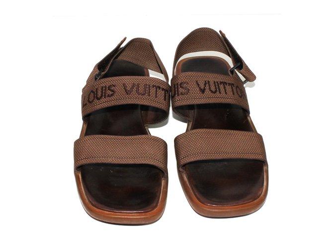 Sandales Homme Louis Vuitton Sandales Cuir Tissu Marron Ref 39729