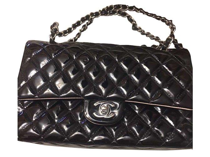 01d85605ea6 Chanel 2.55 classic double flap Handbags Patent leather Black ref.39799