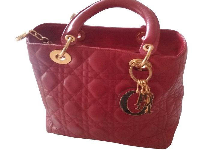 2d2b07294c2e Christian Dior Lady DIOR Handbags Leather Red ref.39838 - Joli Closet