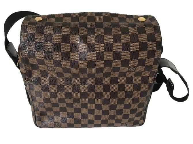 Louis Vuitton Naviglio Messenger Bag Bags Briefcases Cloth Brown Ref 39918