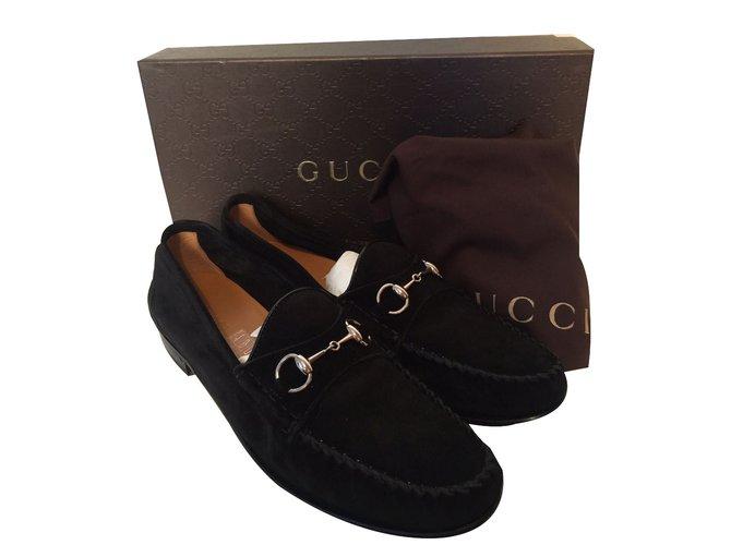 Mocassins Gucci Mocassins Daim Noir ref.40028 - Joli Closet 0fcab82ffe0